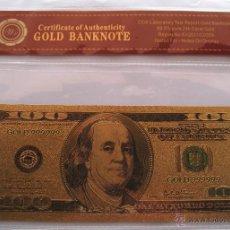 Billetes con errores: BILLETE DE 100 DOLARES , ORO DE 24 KL. Lote 48619440