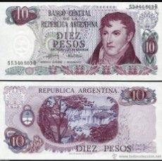 Billetes con errores: ARGENTINA 10 PESOS 1976 PICK 300 SC UNC. Lote 52555404