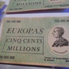 Billetes con errores: RARO BILLETE EUROPAS 500 MILLIONES MONTESQUIEU (JUEGO ? ) LOTE DE 6. Lote 53651532