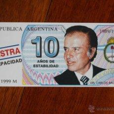 Billetes con errores: BILLETE PUBLICITARIO DEL PRESIDENTE ARGENTINO MENEN 1989-1999. Lote 53950990