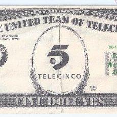 Billetes con errores: FIVE DOLLARS - TELECINCO - FELIZ NAVIDAD 2001. Lote 78174673