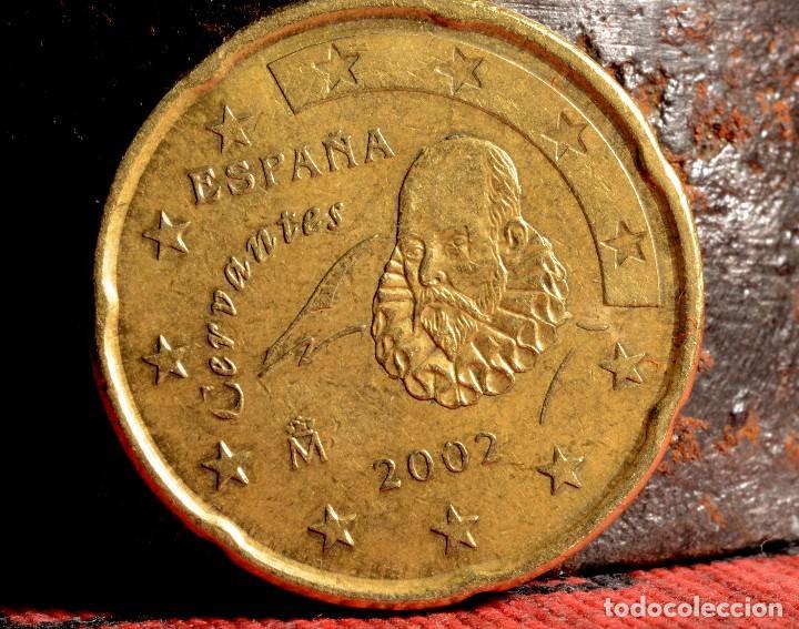 Billetes con errores: PROTUBERANCIA EN CABEZA DE CERVANTES. 20 CÉNTIMOS 2002 (REF. 200) - Foto 2 - 85002224