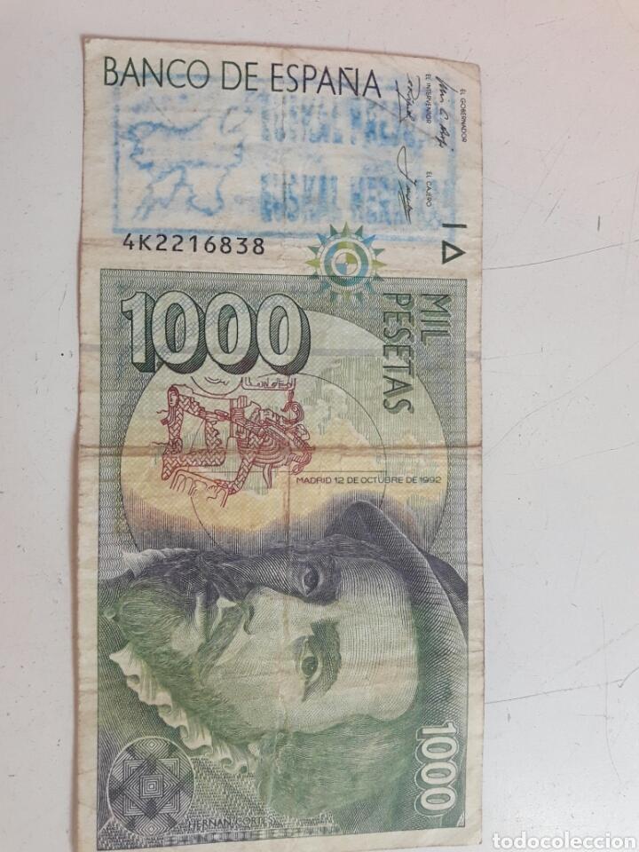 BILLETE 1000 PESETAS. CON DOS SELLOS POLITICOS (Numismática - Notafilia - Variedades y Errores)
