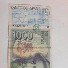 Billetes con errores: BILLETE 1000 PESETAS. CON DOS SELLOS POLITICOS. Lote 85849879