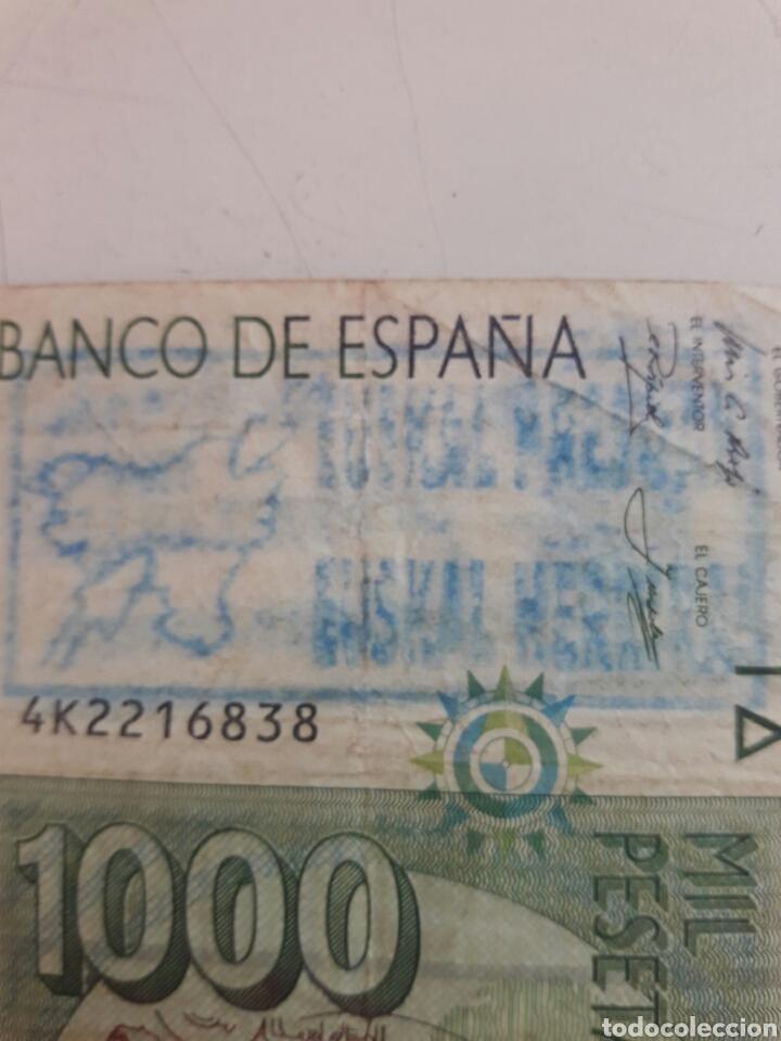 Billetes con errores: Billete 1000 pesetas. Con dos sellos politicos - Foto 3 - 85849879