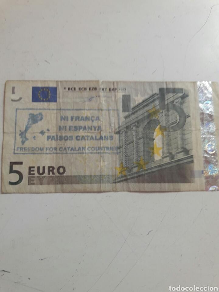 BILLETE 5 EUROS SELLO INDEPENDENTISTA CATALÁN (Numismática - Notafilia - Variedades y Errores)