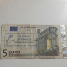 Billetes con errores: BILLETE 5 EUROS SELLO INDEPENDENTISTA CATALÁN. Lote 85850824