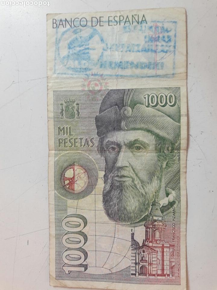Billetes con errores: Billete 1000 pesetas. Con dos sellos politicos - Foto 2 - 85849879