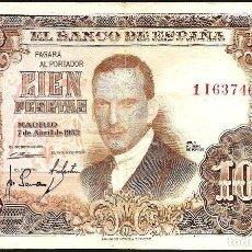 Billetes con errores: ERROR: NUMERACIÓN DEL ANVERSO DESPLAZADA. 100 PTAS. 7-ABRIL-1953.. Lote 89474316