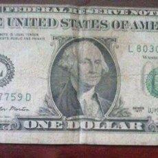 Billetes con errores: BILLETE COLECCIÓN 1 DÓLAR DE 1977 CON FALLO. Lote 94000580