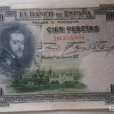 Billetes con errores: BILLETE 100 PESETAS 1925 CON SELLO CARLISTA.. Lote 109493951