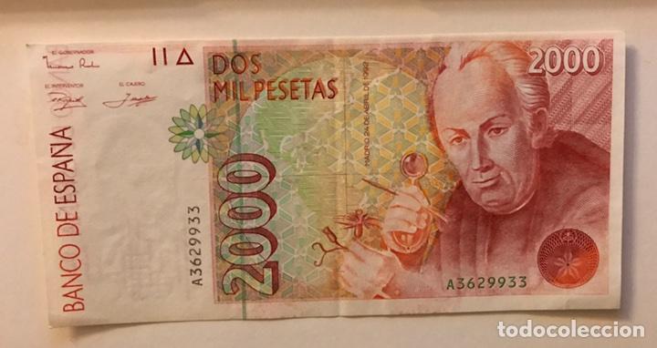 Billetes con errores: Billete 2000 pesetas 1992 Error de impresión Descentrado y Borrón Serie A - Foto 2 - 135141454
