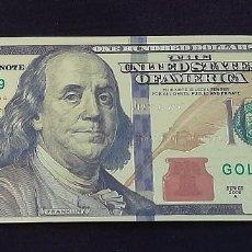 Billetes con errores: BILLETE 100 DOLARES LAMINA DORADA. Lote 109644354