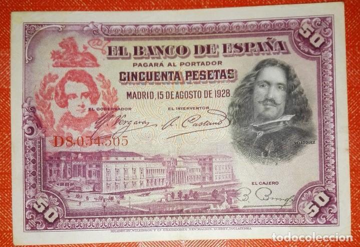 BILLETE DE ESPAÑA - 50 PESETAS CON RESELLO DE LA FALANGE JONS - BIEN CONSERVADO (Numismática - Notafilia - Variedades y Errores)