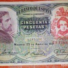 Billetes con errores: BILLETE DE ESPAÑA - 50 PESETAS CON RESELLO DE LA FALANGE JONS - BIEN CONSERVADO. Lote 105589699