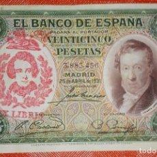 Billetes con errores: BILLETE DE ESPAÑA - 25 PESETAS CON RESELLO DE LA FALANGE JONS - BIEN CONSERVADO. Lote 105589803