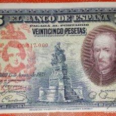 Billetes con errores: BILLETE DE ESPAÑA - 25 PESETAS CON RESELLO DE LA FALANGE JONS - BIEN CONSERVADO. Lote 105589839