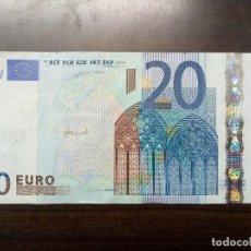 Billetes con errores: BILLETE 20 EUROS CON DEFECTO DE CORTE. Lote 108456679