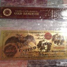 Billetes con errores: REPRODUCCIÓN DE BILLETE DE 100 DÓLARES DEL AÑO 1868 CHAPADO DE ORO DE 24K. - CON CERTIFICADO. Lote 115239255