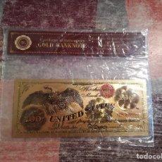 Billetes con errores: REPRODUCCIÓN DE BILLETE DE 100 DÓLARES DEL AÑO 1868 CHAPADO DE ORO DE 24K. - CON CERTIFICADO. Lote 115239319
