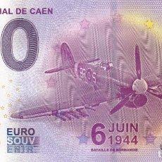 Billetes con errores: BILLETE 0 EURO SOUVENIR LE MEMORIAL DE CAEN. BATALLA NORMANDIA. AVIÓN. SAGRADA FAMILIA EIFFEL ROMA . Lote 117480279