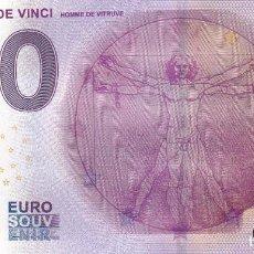 Billetes con errores: BILLETE 0 EUROS SOUVENIR LEONARDO DE VINCI HOMBRE DE VITRUVIO HOMME VITRUVE PARIS ROMA BARCELONA. Lote 117480707
