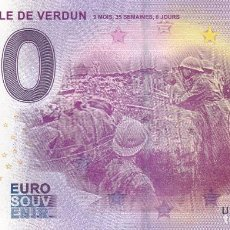 Billetes con errores: BILLETE 0 EUROS SOUVENIR BATALLA VERDUN BATAILLE GUERRA MUNDIAL SOLDADOS EN TRINCHERA PARIS ROMA. Lote 117480867