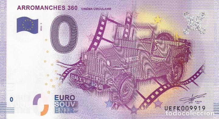 BILLETE 0 EUROS SOUVENIR ARROMANCHES 360 DESEMBARCO NORMANDIA JEEP WILLYS GUERRA MUNDIAL PARIS ROMA (Numismática - Notafilia - Variedades y Errores)