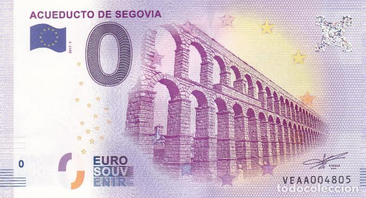 BILLETE 0 EUROS SOUVENIR ACUEDUCTO ROMANO DE SEGOVIA. SAGRADA FAMILIA BERLIN ROMA PARIS BARCELONA (Numismática - Notafilia - Variedades y Errores)