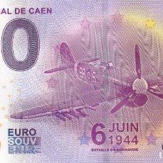 Billetes con errores: BILLETE 0 EURO SOUVENIR LE MEMORIAL DE CAEN. BATALLA NORMANDIA. AVIÓN. SAGRADA FAMILIA EIFFEL ROMA . Lote 117481235