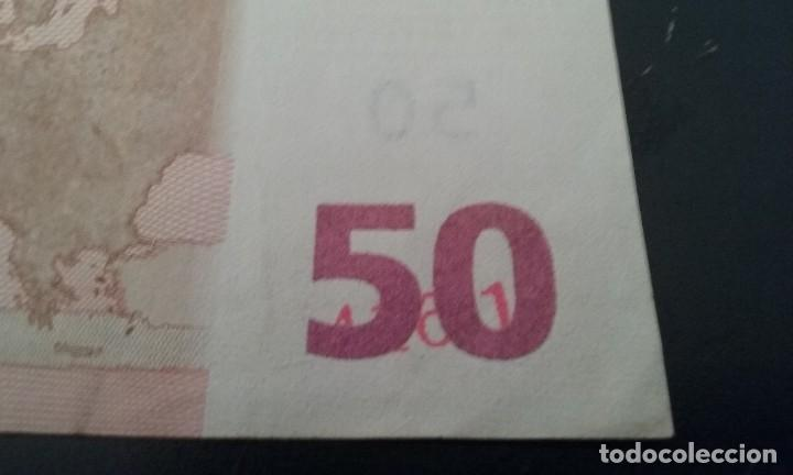 ERROR BILLETE 50 EUROS RAREZA UNICO CIFRAS PLIEGO? BAJO EL 50 (Numismática - Notafilia - Variedades y Errores)