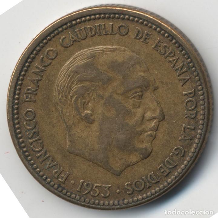 Billetes con errores: MONEDA DE 2,5 PESETAS 1953*56 FRANCO HILOS DE METAL - DESPLAZADA EMPASTE REVERSO - Foto 2 - 118858011