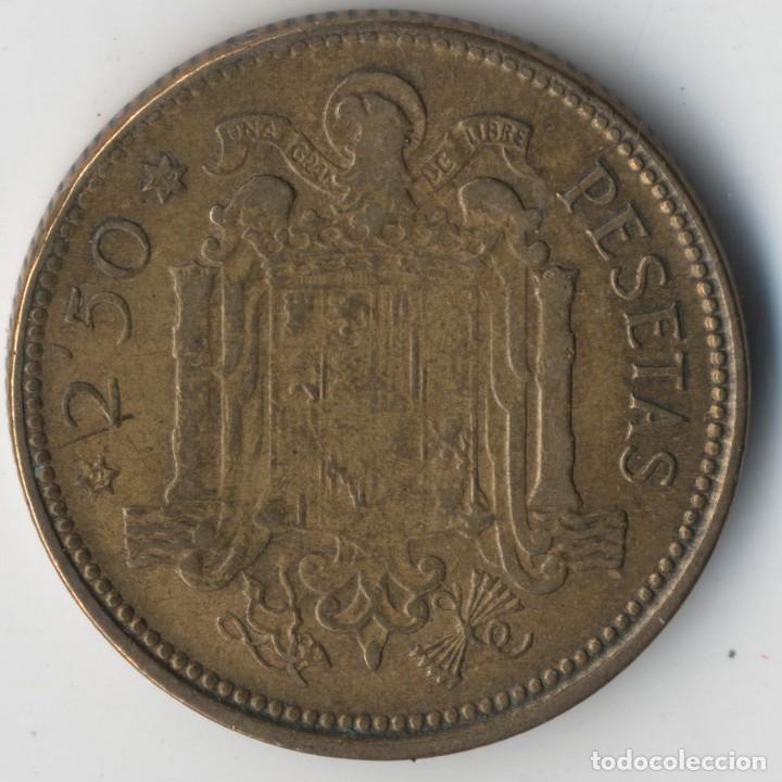 Billetes con errores: MONEDA DE 2,5 PESETAS 1953*56 FRANCO HILOS DE METAL - DESPLAZADA EMPASTE REVERSO - Foto 3 - 118858011