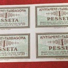 Billetes con errores: 1 PESETA DE TARRAGONA (4 BILLETES SIN CORTAR). Lote 120330667