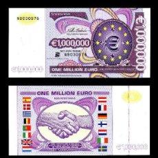 Billetes con errores: BILLETE COMUNIDAD EUROPEA 1.000.000 DE EUROS CON CERTIFICADO DE AUTENTICIDAD, FANTASIA S/C. Lote 120557507