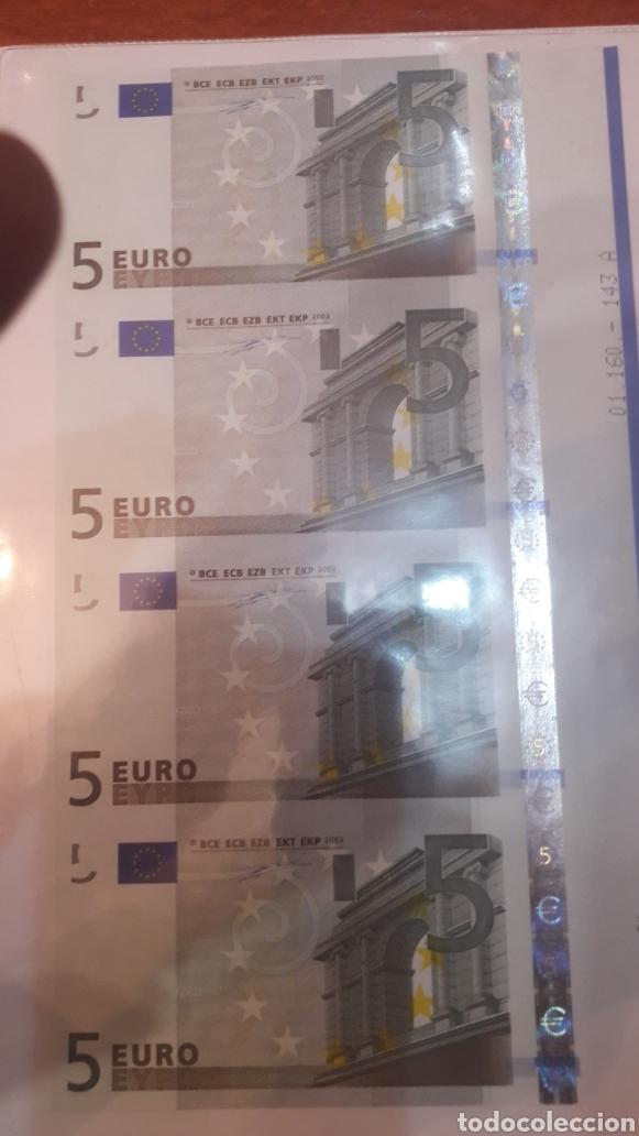 Billetes con errores: 2002 Alemania Duisenberg Error 5 euros cuatro cortados juntos plancha 2002 - Foto 2 - 122247704
