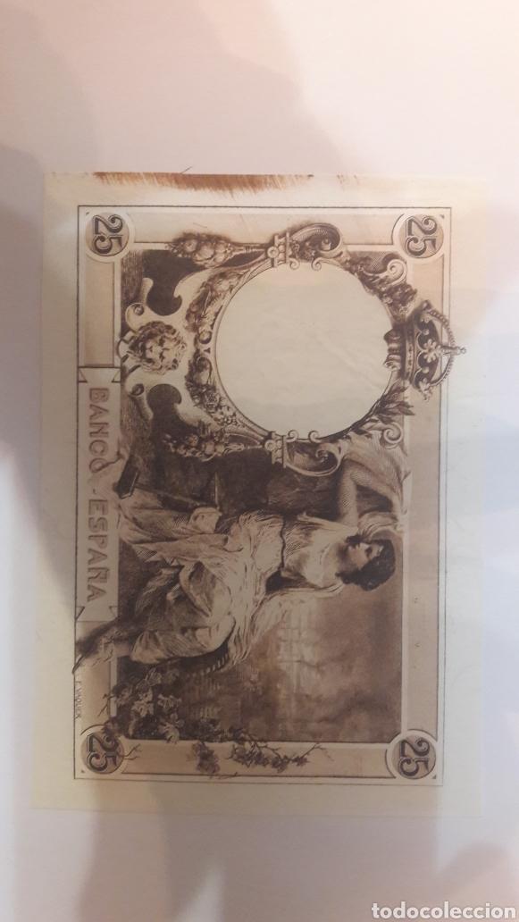 ESPÉCIMEN BILLETE MATIZ 25 PTAS ALFONSO XII MARRON PRUEBA 1908 NUMISMÁTICA COLISEVM (Numismática - Notafilia - Variedades y Errores)