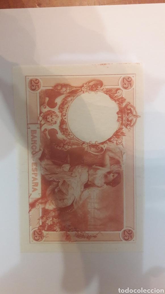 ESPÉCIMEN ALFONSO XII 1908 PRUEBA 25 PTAS NARANJA PLANCHA NUMISMÁTICA COLISEVM (Numismática - Notafilia - Variedades y Errores)
