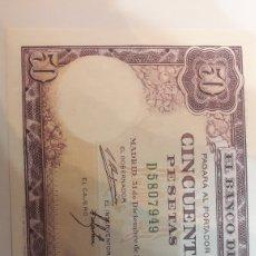 Billetes con errores: ERROR SIN FIRMA CAJERO 50 PTAS 1951 PLANCHA. Lote 122256882