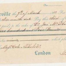 Billetes con errores: LETRA DE CAMBIO POR 205 LIBRAS. SEVILLA 9 MARZO 1853 PAGADERA EN LONDRES. MEMBRETE: JOHN MURPHY & CO. Lote 129513635