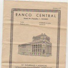 Billetes con errores: BANCO CENTRAL. INFORMACIÓN DE VALORES 9 FEBRERO 1951. 8 PÁGINAS.. Lote 129513639