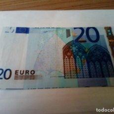 Billetes con errores: BILLETE DE 20 EUROS CON ERROR DE IMPRESION. Lote 135038062