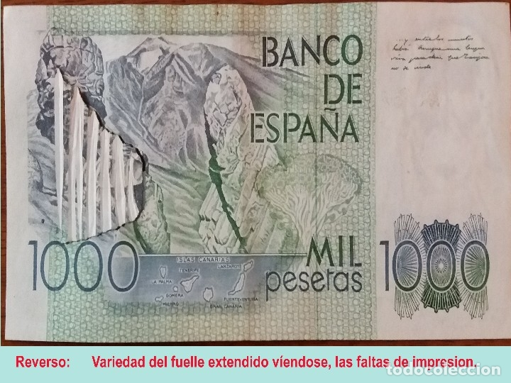 Billetes con errores: RARO BILLETE DE 1.000 PTS. DEL 23 OCTUBRE 1979, CON LA VARIEDAD DE IMPRESION DE FUELLE EN EL PAPEL. - Foto 3 - 132518126