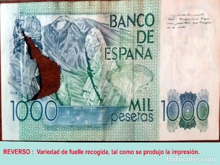 Billetes con errores: RARO BILLETE DE 1.000 PTS. DEL 23 OCTUBRE 1979, CON LA VARIEDAD DE IMPRESION DE FUELLE EN EL PAPEL. - Foto 5 - 132518126