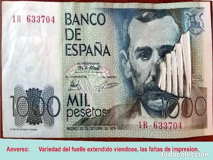 Billetes con errores: RARO BILLETE DE 1.000 PTS. DEL 23 OCTUBRE 1979, CON LA VARIEDAD DE IMPRESION DE FUELLE EN EL PAPEL. - Foto 2 - 140340378