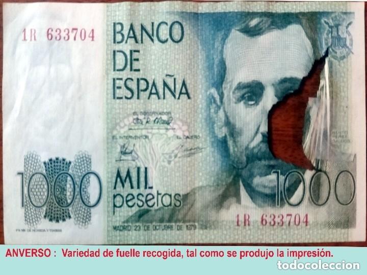 Billetes con errores: RARO BILLETE DE 1.000 PTS. DEL 23 OCTUBRE 1979, CON LA VARIEDAD DE IMPRESION DE FUELLE EN EL PAPEL. - Foto 3 - 140340378