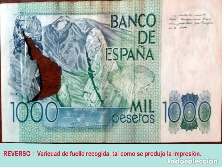 Billetes con errores: RARO BILLETE DE 1.000 PTS. DEL 23 OCTUBRE 1979, CON LA VARIEDAD DE IMPRESION DE FUELLE EN EL PAPEL. - Foto 5 - 140340378