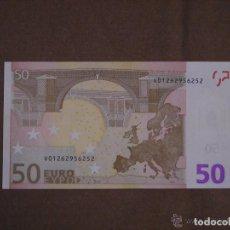 Billetes con errores: BILLETE DE 50 EUROS SIN CIRCULAR CON ERROR DE FABRICACION.LE FALTA EL HOLOGRAMA, ESTADO PLANCHA. Lote 140489414