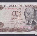 Billetes con errores: BILLETE DE 100 PESETAS DEL AÑO 1970 MAL CORTADO, CON ESQUINA SALIENTE (RARO) EXCESO DE PAPEL. Lote 140906998