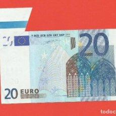 Billetes con errores: BILLETE DE 20 EUROS DE 2002 FIRMADO POR WILLEN F. DUISENBERG, SIN CORTE TOTAL DE LA MATRIZ LOTE 0958. Lote 147158786